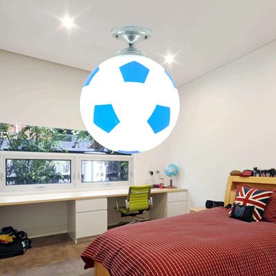 Creative Football Led Ceiling Lights Kids Room Dia 25cm Glass Ball  Lampshade Modern Ceiling Lamp For Bedroom Balcony Hallway