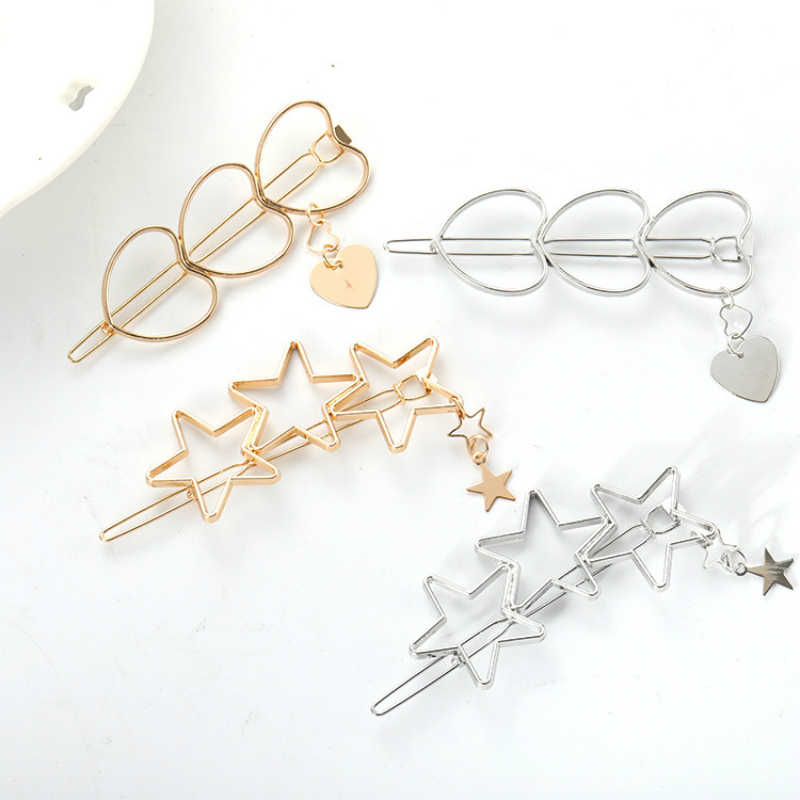New Fashion Jewelry Hollow Star Hair Clips For Women Pentagram Love Hairpin Women Bridal Hair Accessories Hairgrip Wholesale