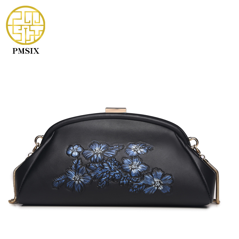 Pmsix 2016 Embossed Flower Women Genuine Leather Bag Fashion Black Evening Clutch Bag Small Chain Shoulder Bag Crossbody Bag купить дешево онлайн