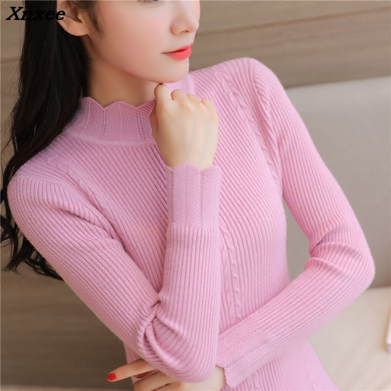 The new winter sweater in a long sleeved sweater Korean Short semi Turtleneck Shirt slim thickening Xnxee in Pullovers from Women 39 s Clothing