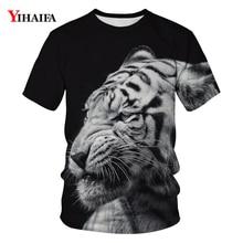 Men Women T-shirt 3D Lion Graphic T shirts Black Hip Hop Short Sleeve Casual Animal Tees Round Neck Unisex Summer Tops casual short sleeve round neck lion print t shirt for women