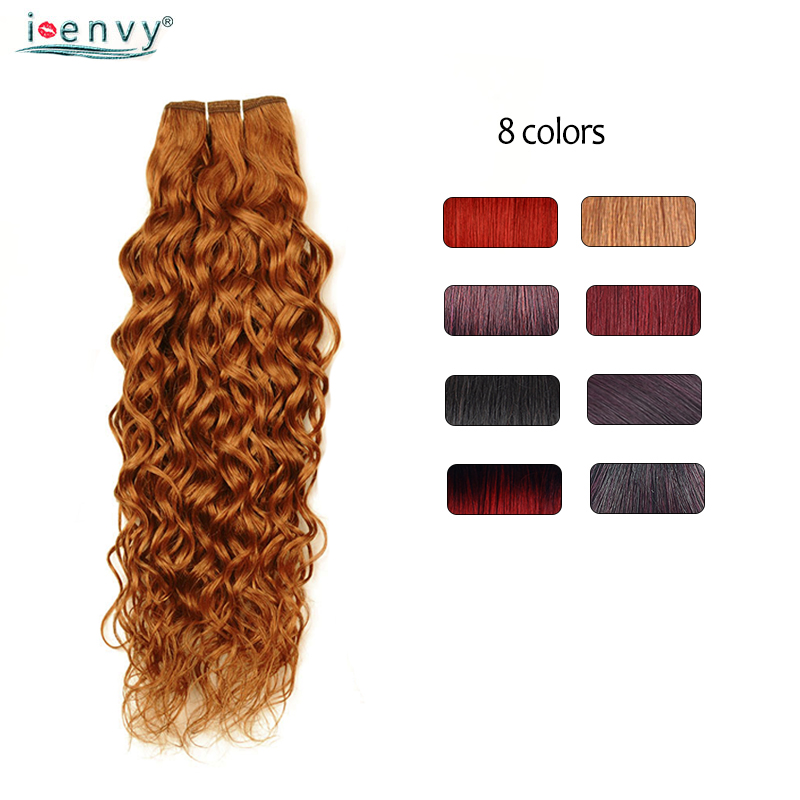 Ienvy Ombre Blonde Water Wave Bundles Brazilian Colored Red 99J Burgundy Bundles Blonde Curly Hair Weave Nonremy 100% Human Hair