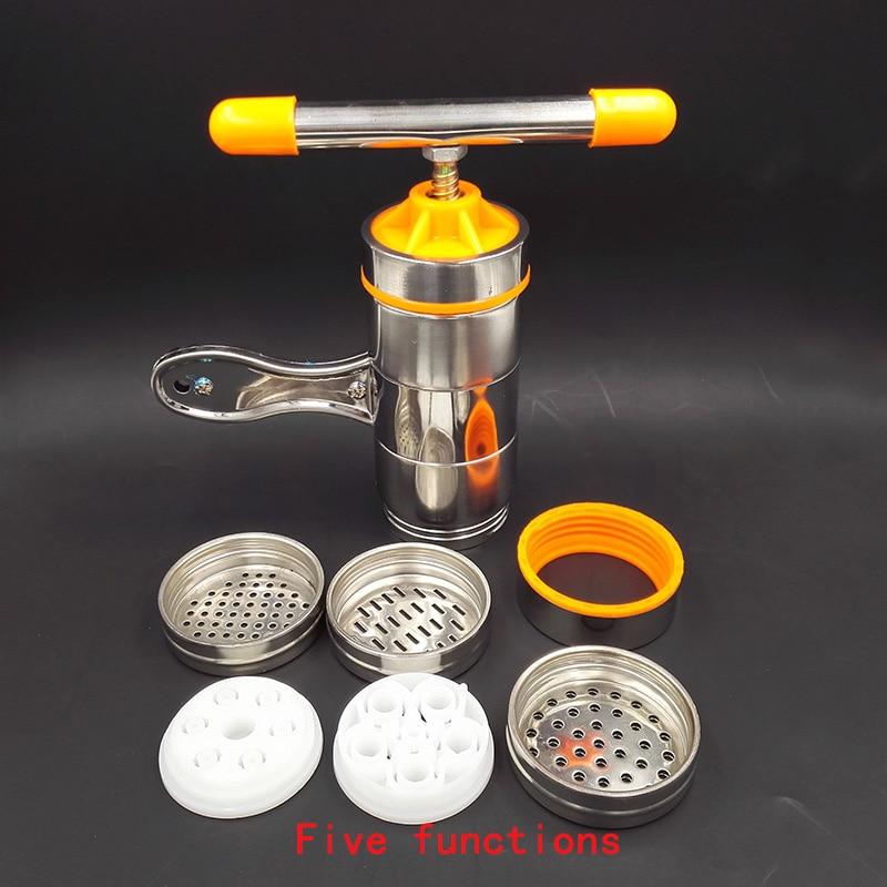 Manual Noodle Maker Kitchen <font><b>Pasta</b></font> Spaghetti Press pates Machine Vegetable Fruit Juicer Pressing Machine Stainless Steel