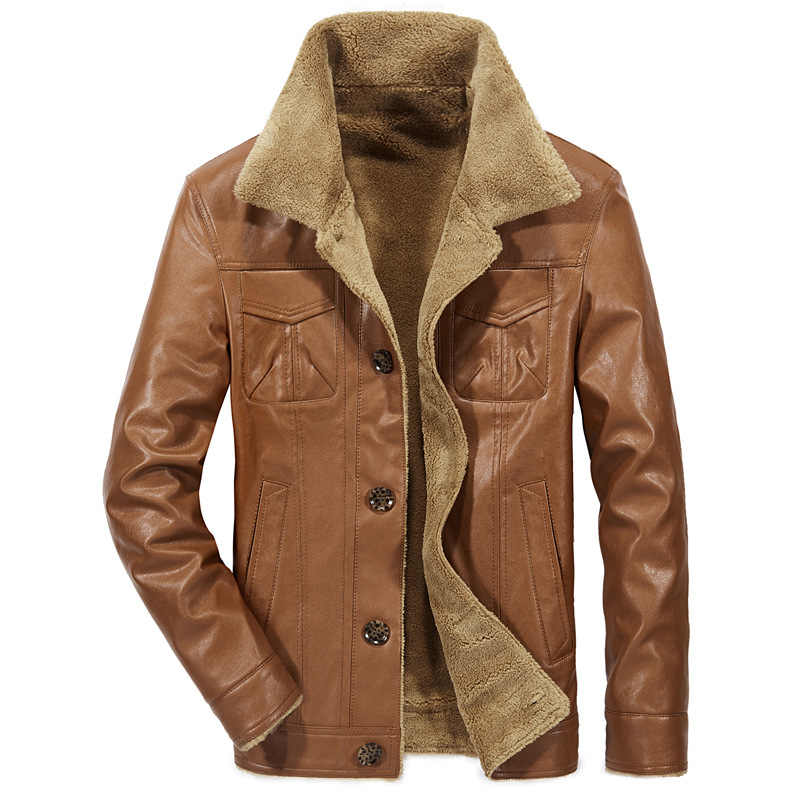 b4f52e9154b 2018 New Men s Leather Jacket PU Coats 4XL Mens Brand Clothing Thermal  Outerwear Winter Fur Male