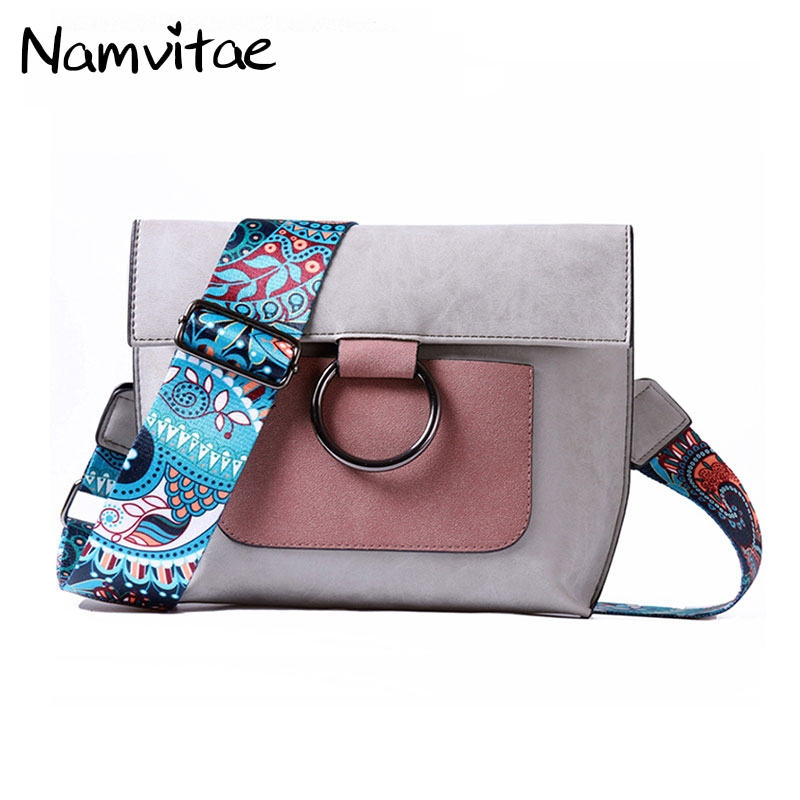 Namvitae 2018 New Leather Women Shoulder Bag with Colorful Strap Fashion Ladies Messenger Bags Brand Casual Women Handbags Bag