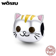 WOSTU Pink Ear Kitty Bead Original 2019 Sterling Silver 925 New Beads Making Cute Fashion Jewelry Gift For Women BKC1142(China)