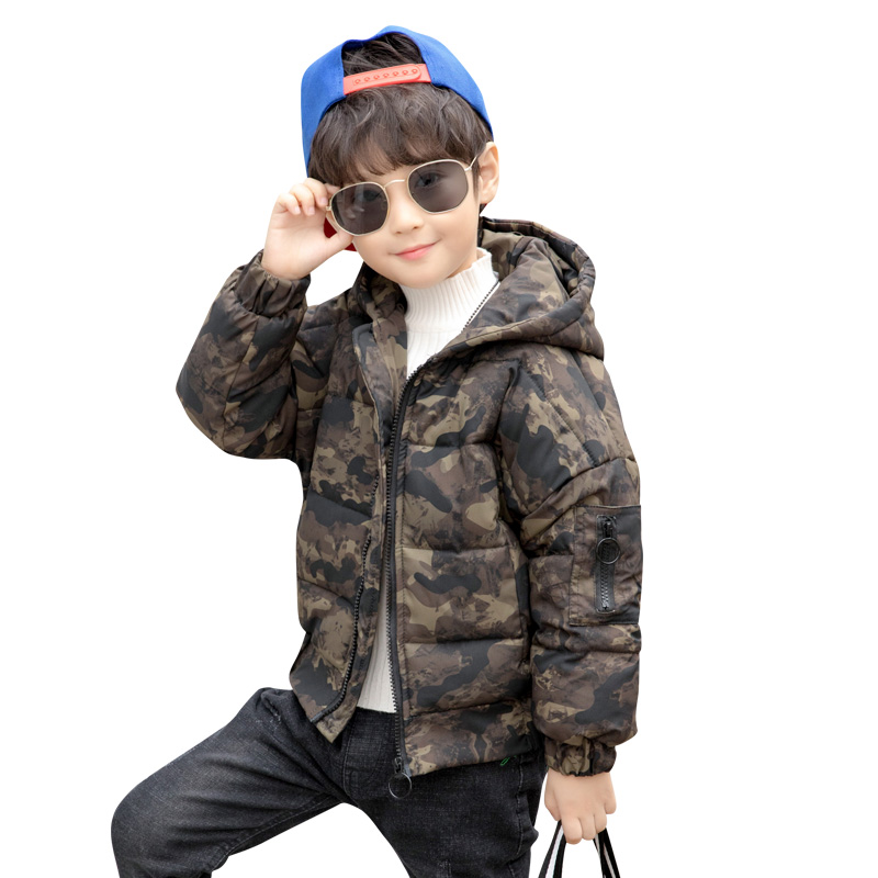 2018 New Boys Winter Thick Warm Coat Kids Hooded Casual Jacket Kids Outerwear Down Cotton-Padded Camouflage School Winter Coats