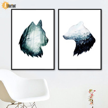 Watercolor Wolf Bear Abstract Nature Nordic Poster And Print Animal Wall Art Canvas Painting Wall Pictures For Living Room Decor цена в Москве и Питере