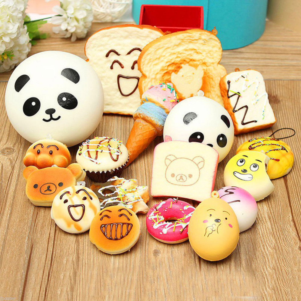 30 Pcs/lot Squeeze Toys Slow Rising Stress Relief Lovely Panda Cake Bread Donut Charm Squishies Toy Stretchy Squeeze Phone Strap 2pcs stress relief world map jumbo ball atlas globe palm ball planet earth ball stress relief slow rising squishies toys