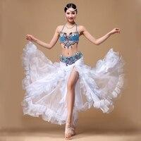 New 2016 Performance Egyptian Belly Dancing Oriental Dance Costumes Set 3pcs (Bra, Belt, Skirt) Belly Dance Costume Professional