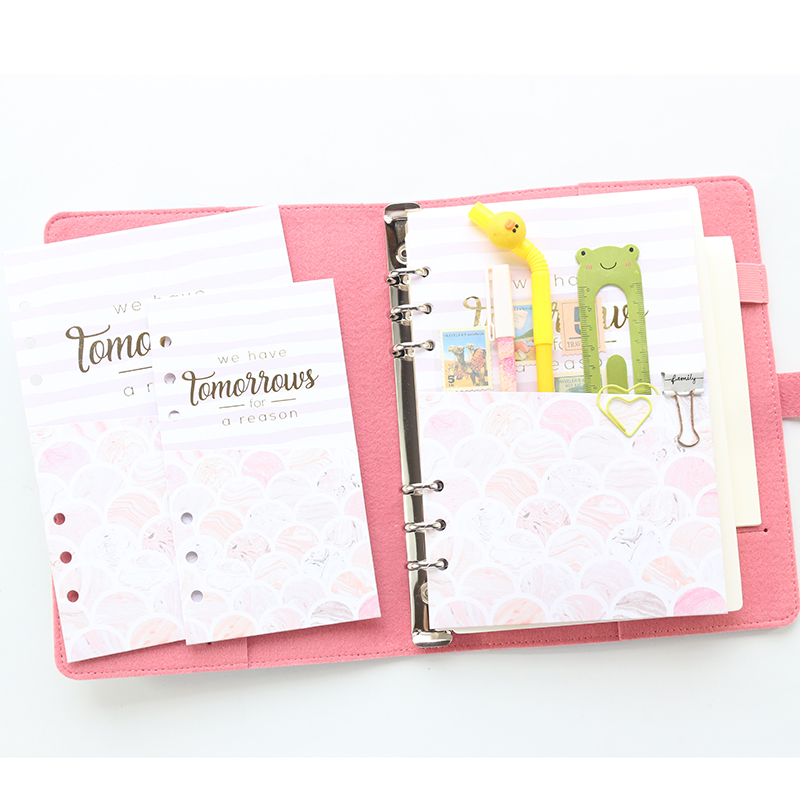 Domikee Cute Kawaii Marble 6 Rings Paper Inner Pouch For Binder Planner Candy Dairy Organizer Bag Accessories Gift A5A6