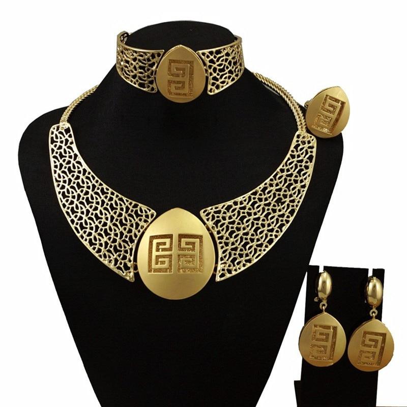 Nuevo llega el oro conjuntos de joyería de las mujeres conjuntos de joyería fina conjuntos de collar de las mujeres conjuntos de la joyería del banquete de boda regalo pulsera