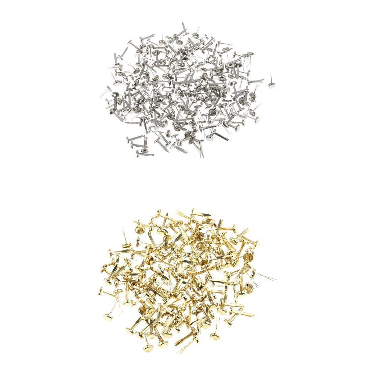 400 шт. Металл Железо Брадсы Бумага Крепежи для Скрапбукинг Craft цвета: золотистый, серебристый ...