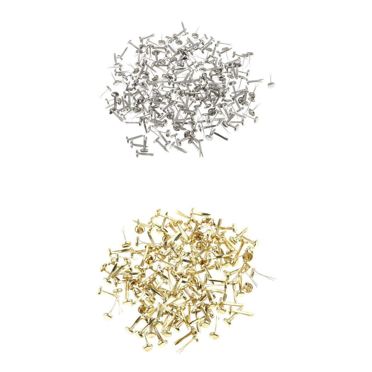 400 Pieces Metal Iron Brads Paper Fasteners for Scrapbooking Craft Gold Silver ...