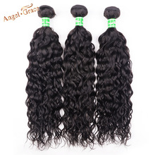 Angel Grace Hair Malaysia Water Weave Hair 3 Bundles Remy Hair Natural Color Human Hair Extensions Free Shipping 10-28 Inch cheap Water Wave =25 Darker Color Only Malaysia Hair 3 pcs Weft Permed Free Part