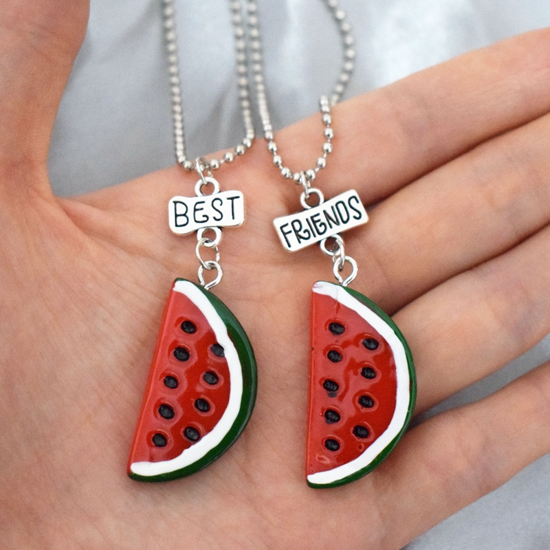 Simulation Watermelon Fruit bff Pendant Necklace Children Best Friends Couple Glass Wish Bottle Friendship Jewelry Birthday Gift image