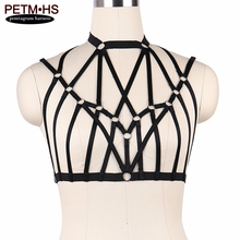 Charm Womens Sexy Harness Lingerie Black Elastic Strappy Tops Bondage Body Cage Bustier Goth Fetish Erotic Bra Burlesque Corset