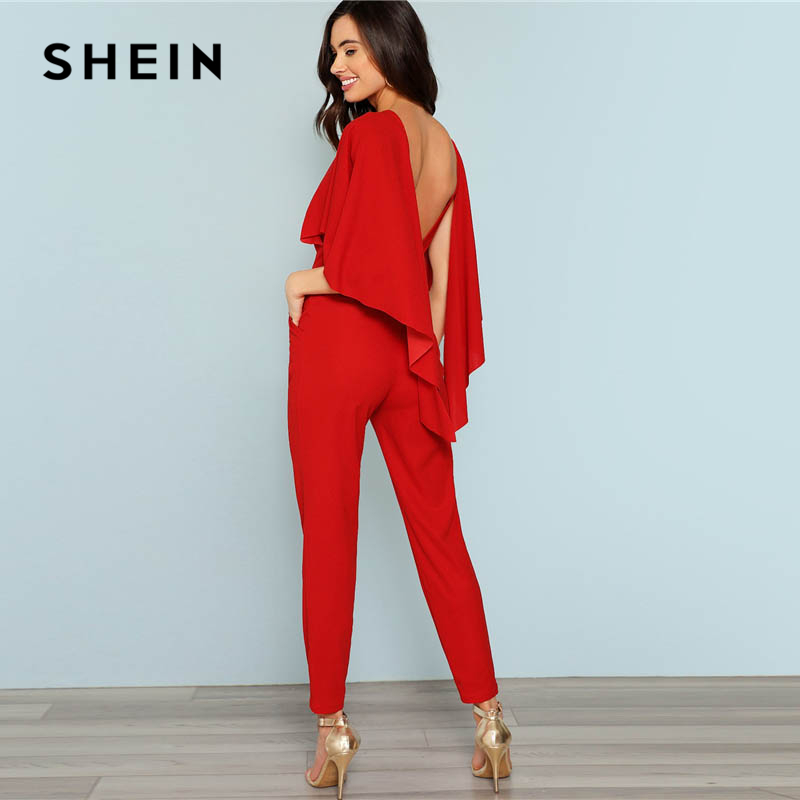 SHEIN Red Backless Open Shoulder Solid Cape Jumpsuit Elegant Cloak Sleeve Stretchy Jumpsuits Women Autumn Highstreet Jumpsuit 1