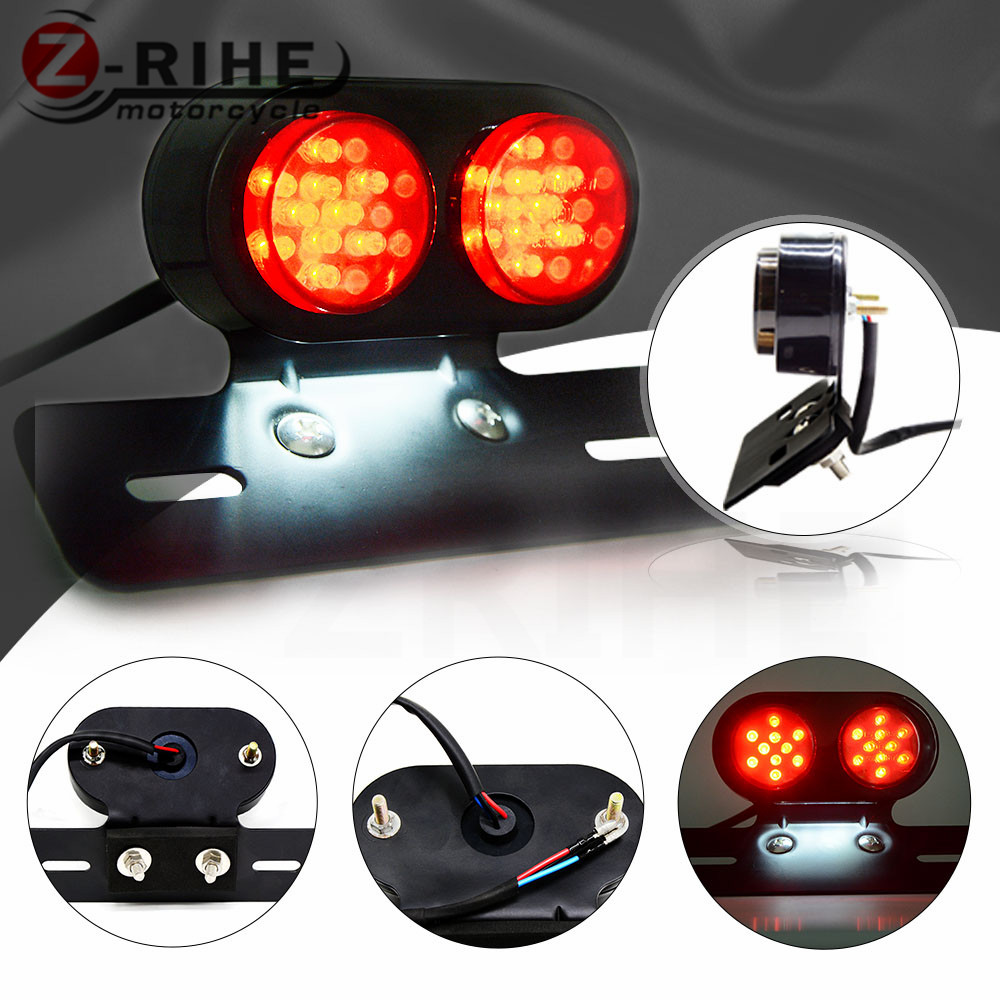 цены Motorcycle Accessories LED Twin Dual Tail Turn Signal Brake License Plate Integrated Light For Harley Bobber Cafe Racer ATV