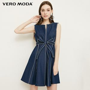 Vero Moda Visible Stitches Sleeveless Lace-up Denim Dress | 318342501