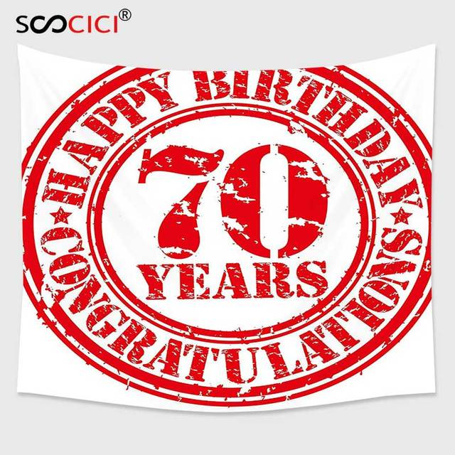 Cutom Tapestry Wall Hanging70th Birthday Decorations 70 Years Congrats Symbol Icon Grunge Stamp Vintage Design Red And White