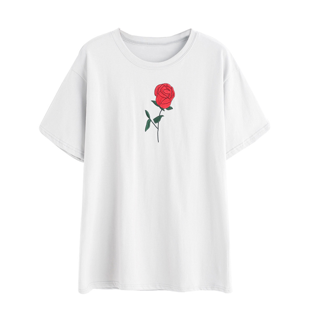 T shirt printing at white rose - White Shirt 2017 Summer Fashion All Match O Neck Short Sleeve T Shirts Rose Embroidery Loose