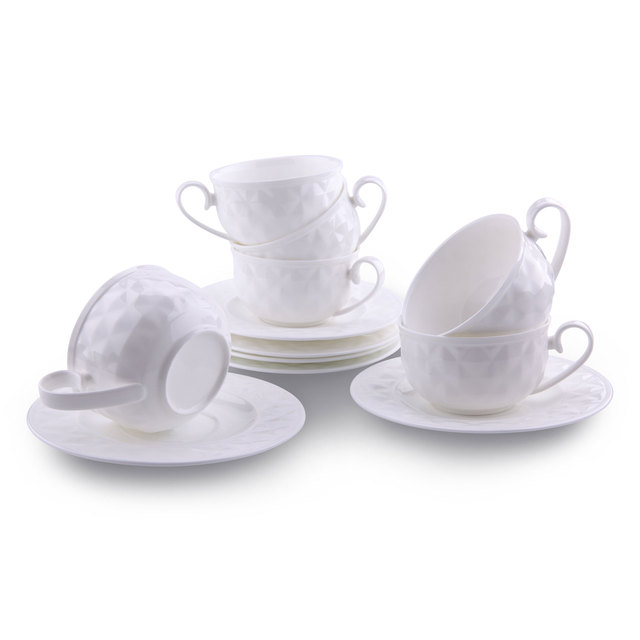US $62 66 19% OFF|5 Ounce Damond Bone China Coffee Cups and Saucers with  Handle Coffee Latte Mocha Cappuccino Espresso Tea Cups Saucer sets of 6-in