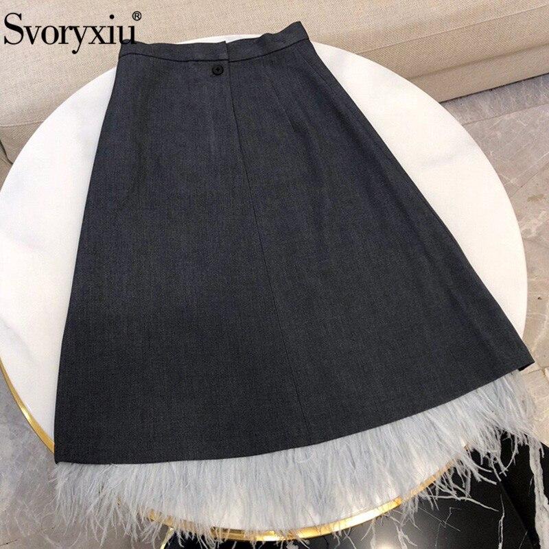 Svoryxiu أزياء مكتب سيدة الريش خليط خط تنورة المرأة مصمم العلامة التجارية ميدي تنورة الإناث-في تنورة من ملابس نسائية على  مجموعة 1