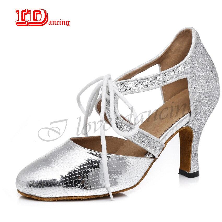 IDancing Latin Dance Woman Shoes Ballroom Female Dance Shoes Tango Salsa  Square Party Ladies Shoes High e6a5522cbfef