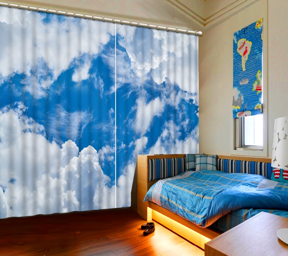 3d Curtains Blue Sky And White Clouds Window Curtains For