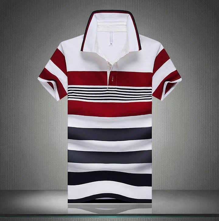 Men Classic Striped Polo Shirt Cotton Short Sleeve NEW Arrived 2019 summer Plus size M-XXXXL