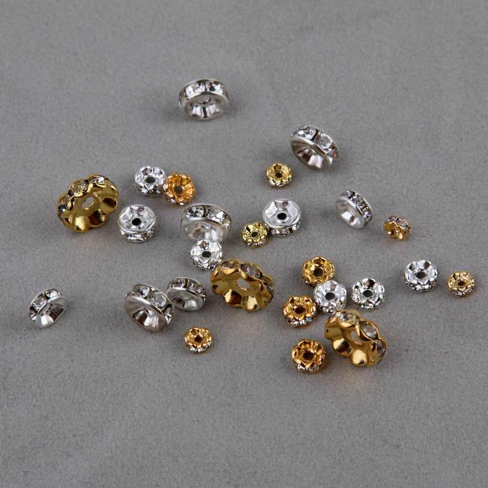 100pcs 5-10mm inlaid Rhinestone Separation beads septa fit Bracelets/Necklaces/Earrings fashion DIY jewelry Accessories