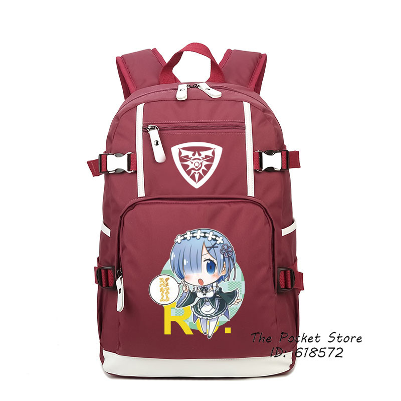 2017 New Anime Re:Life in a different world from zero Kawaii Pack Rem Ram Cosplay Pringting Backpack Laptop Backpack Women Bags cd kraftwerk computer world re canvass