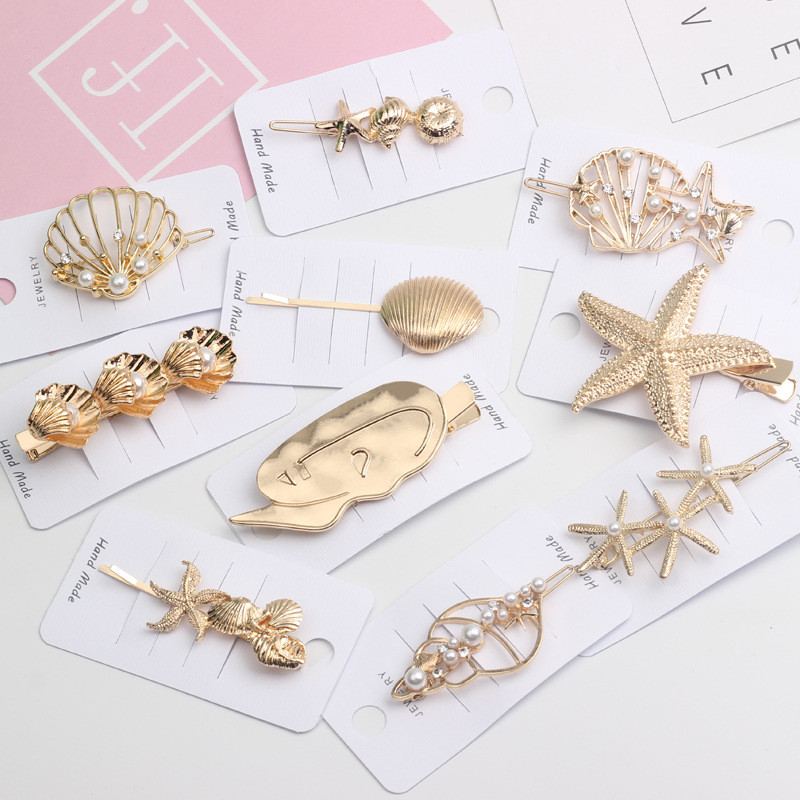 Korea Chic Hair Accessories Metal Gold Color Beach Shell Starfish Simulated Pearl Hair Clips For Women Girls Hair Pins
