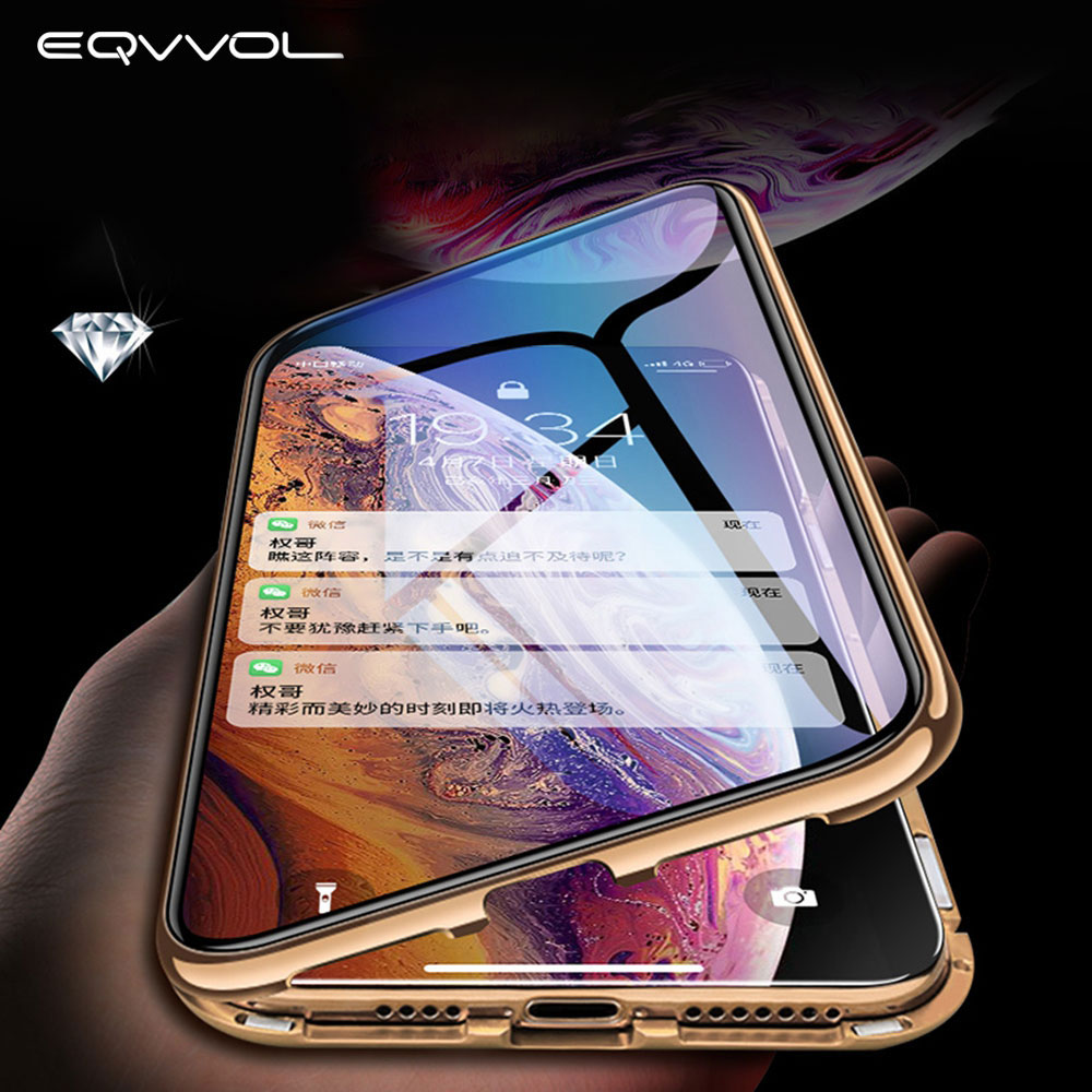 Eqvvol Upgrade Metal Magnetic Case For IPhone XS MAX X XR Double Sided Glass Magnet Case For IPhone 7 8 6 6 Plus Full Cover Case