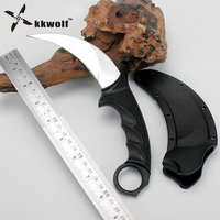 KKWOLF Karambit Knife CS GO Steel Tigers Claw Knife Hunting Tactical Knife Rescue Survival Knives Outdoor