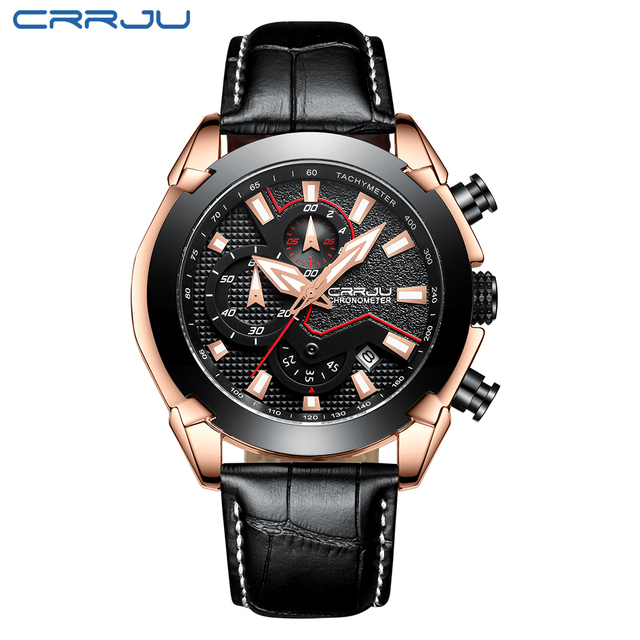 Mens Watch Leather Strap Luxury Brand 2018 CRRJU Chronograph Men's Sport Watches With Date Male Luminous Clock Montre Homme