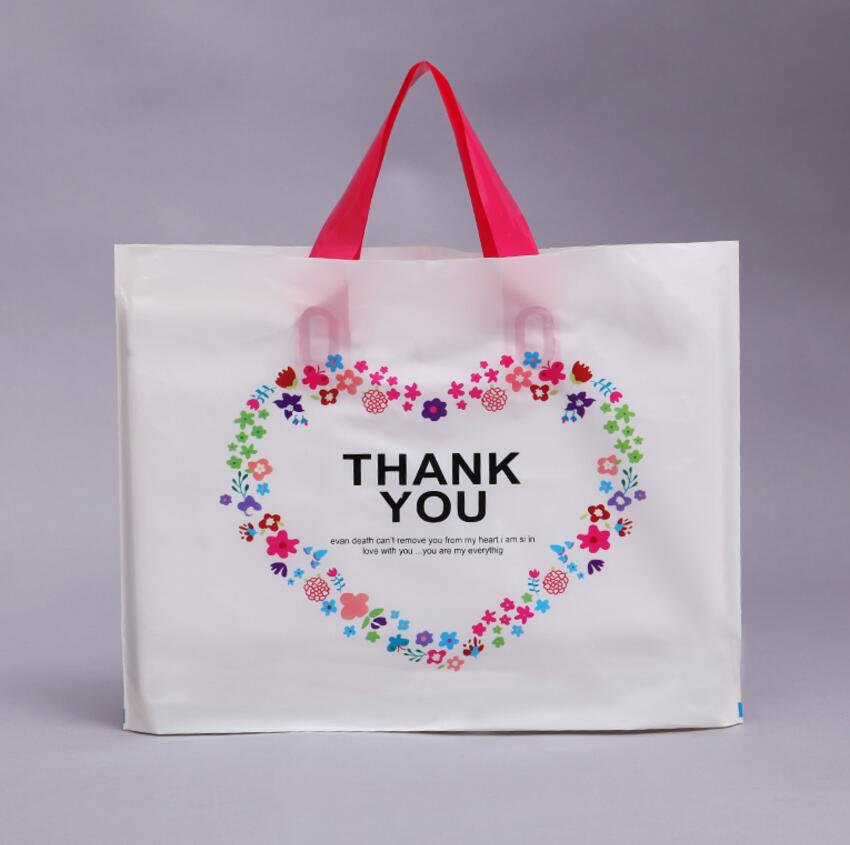 50 Pcs White Loving Heart Thank you Thick Plastic Clothes Gift Packaging Bag with Handle, for Clothes Shoes Gift Shop