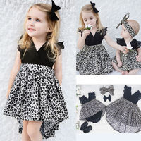 Kid Infantil Baby Girls Princess Pageant Wedding Party Leopard Print Tulle Tutu Casual Dresses Headband
