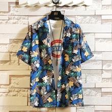Print Brand 2021 Summer Men's Beach Shirt Fashion Short Sleeve Floral Loose Casual Shirts Plus Asian SIZE M-4XL 5XL Hawaiian
