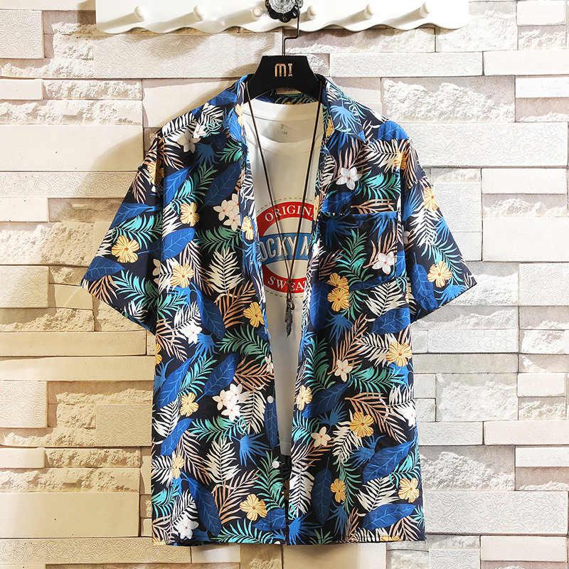 Print Merk Zomer Heet Verkoop Mannen Strand Shirt Fashion Korte Mouw Bloemen Losse Casual Shirts Plus Aziatische Grootte M-4XL 5XL Hawaiian