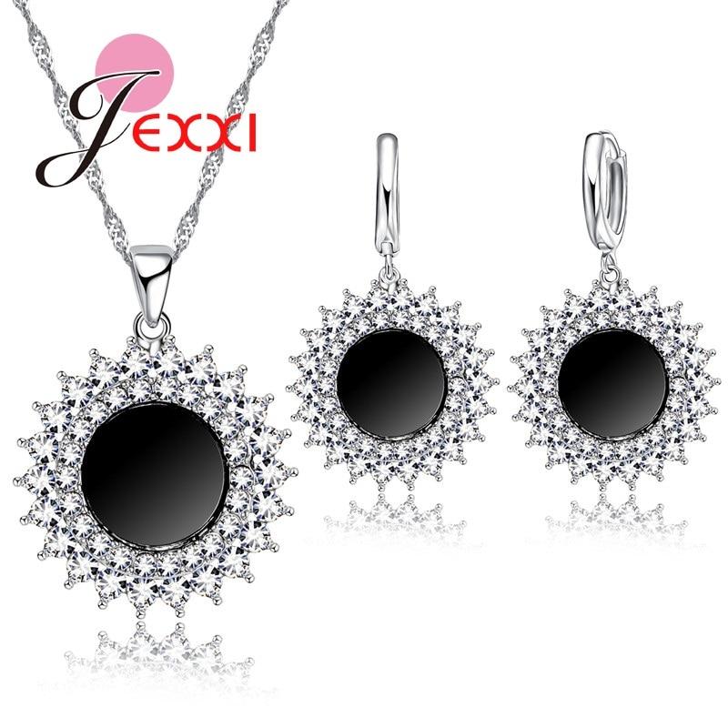 Vintage gotické černé slunce šperky sada žena punk stříbro přívěsek módní zirkon drahokamu náhrdelník náušnice