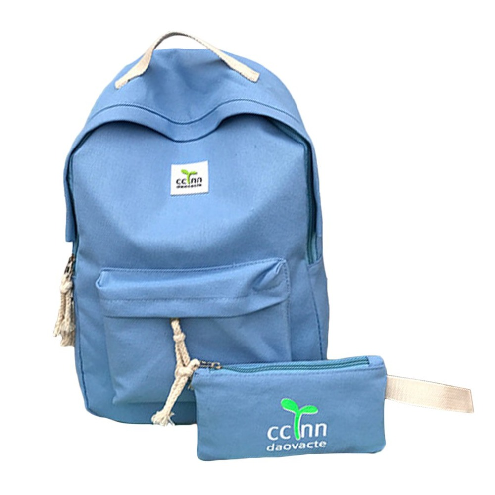 Canvas Backpack School-Bag College Women Shoulder Girls Ladies Wind Mochila Szkolny 2pcs/Set