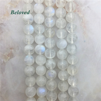 AAAA Quality Round Blue Moonstone Loose Beads, Flash Sunstone Gems Strand Beads For Jewelry Making, BG18106