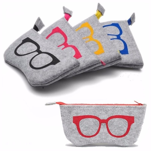 Multifunctional Personality Cosmetic Bag Unisex Soft Zipper Wool Felt Cloth Eyewear Accessories Glasses Bag