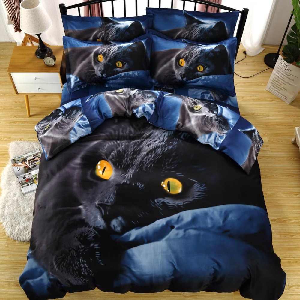2019 дикая 3D черная кошка Постельное белье Микрофибра полиэстер постельные принадлежности набор США Твин Полный queen King размер пододеяльник наволочки