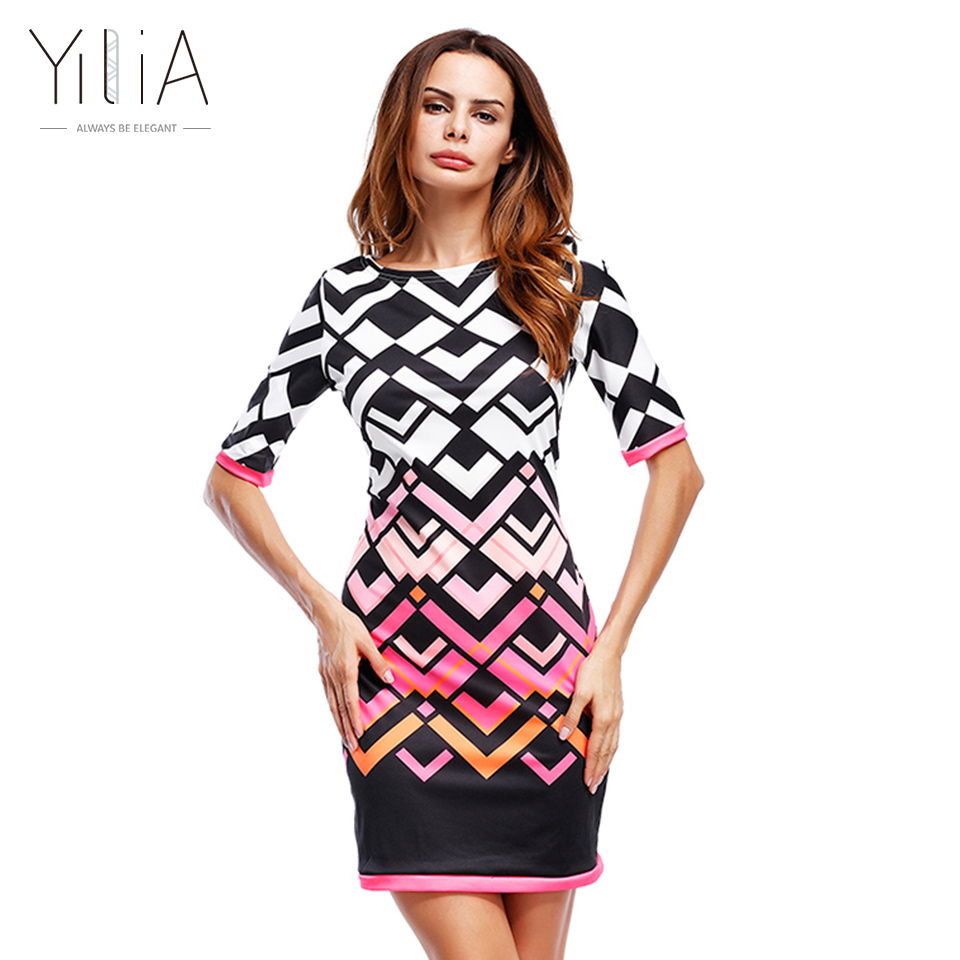 Yilia 2017 Women Dress Vestidos Summer Autumn Elegant Print Work Business Casual Party Pencil Sheath Bodycon Dresses Mini Short