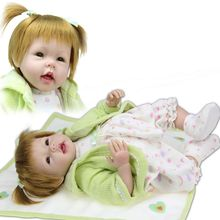 22″ Lifelike Silicone Reborn Baby Doll Look Real Girl with Pigtails as Kids Playmate Playhouse Toys Gifts