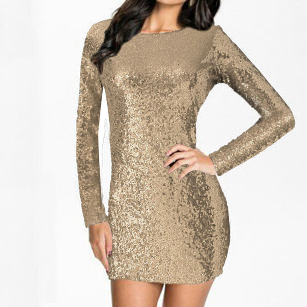 Women s Sparkle Glitzy Glam Sequin Long Sleeve Flapper Party Club Dress  sundress Autumn winter backless party short dress festa-in Dresses from  Women s ... a0e8f41c405a