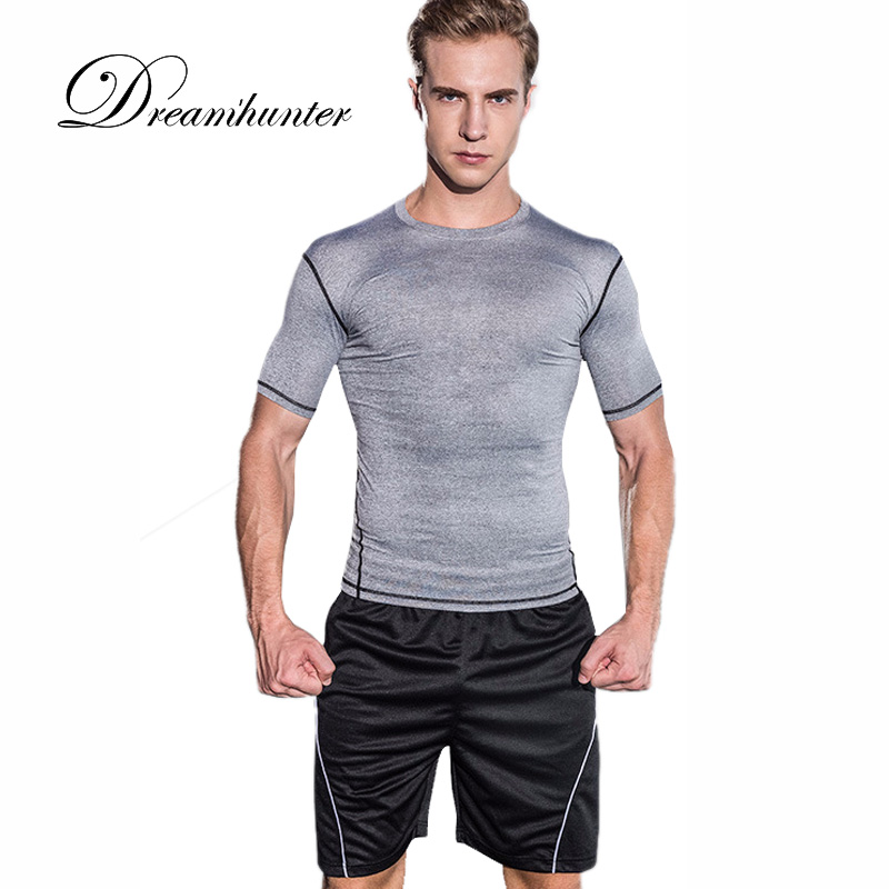 2 Pieces Casual Tracksuit Set Men Short Sleeve Compression Shirts + Breathable Shorts Workout Fitness Running Men's Sportswear